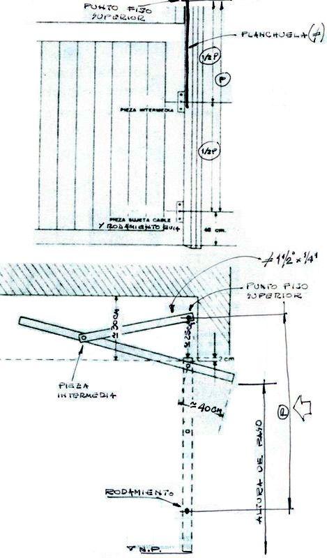"""Cómo hacer un portón levadizo  Este croquis es como un ABC y sirve para explicar algunas claves o """"secretos"""" que su construcción esconde. Presta atención a la letra """"P"""" marcada con una flecha. Es la distancia que hay entre el punto fijo superior y el rulemán que va en el mismo eje de la pieza sujetacable. La medida entre los centros de los dos orificios que lleva la planchuela que soporta todo el peso del portón es igual a 1/2 de """"P""""...¡ésa es una de las claves!!!!"""