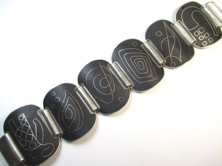 Stegemaille Armband Vintage 30er-50er Art Deco Ära enamel cufflinks uN3
