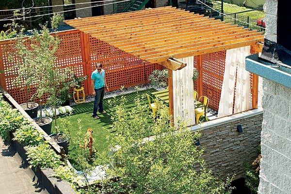 A garage roof deck gets a makeover with an unexpected material—a modern version of Astroturf