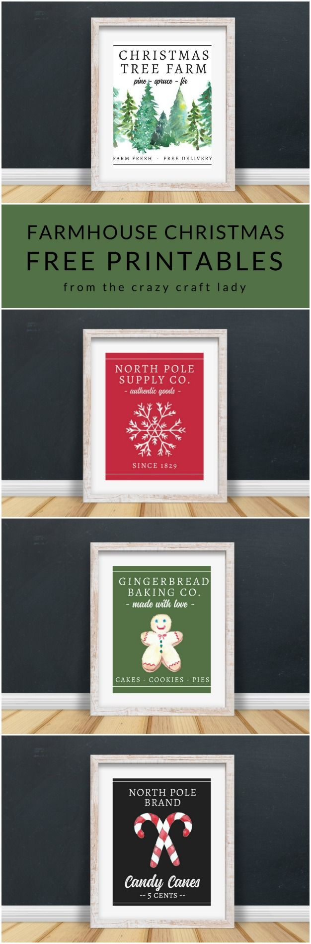 These FREE Farmhouse Christmas Art Printables are perfect for your holiday decor and gallery walls. 14 free classic Christmas printables. #freeprintable #FarmhouseChristmas