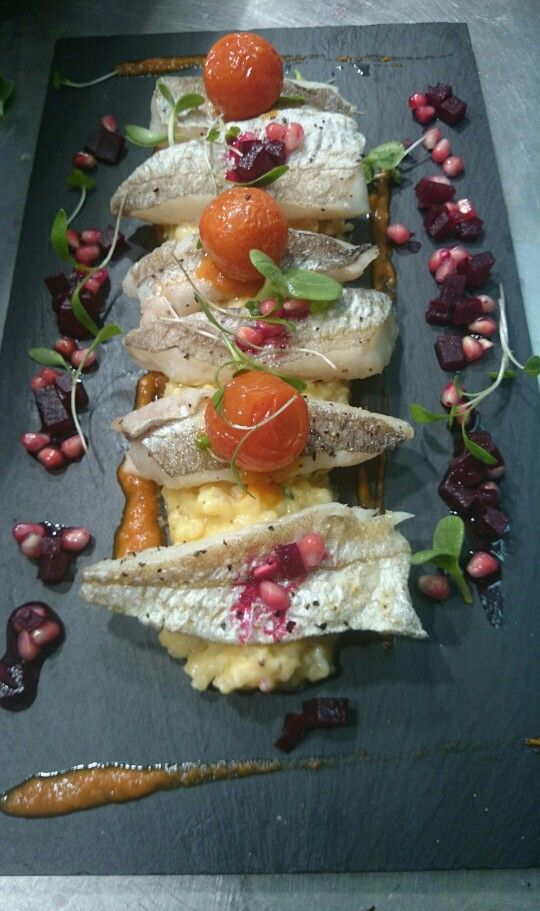 Whiting, butternut squash risotto, confit tomatoes, beetroot and pommegrante.