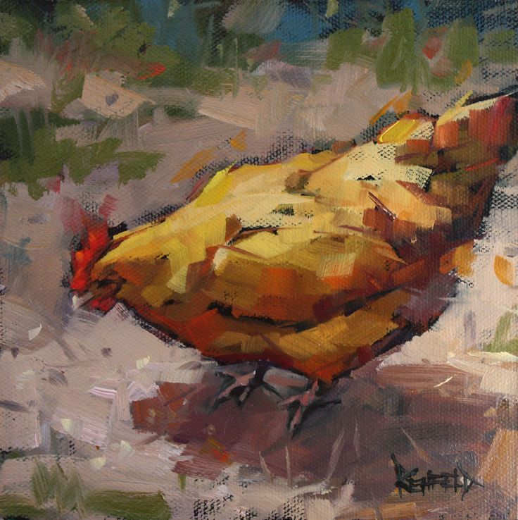 paintings of chickens | cathleen rehfeld • Daily Painting: Contented Chicken - sold