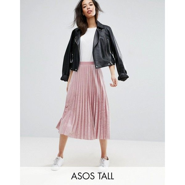 ASOS TALL Pleated Midi Skirt in Velvet (425 GTQ) ❤ liked on Polyvore featuring skirts, pink, high waisted skirts, calf length skirts, knee length pleated skirt, velvet skirt and pink skirt