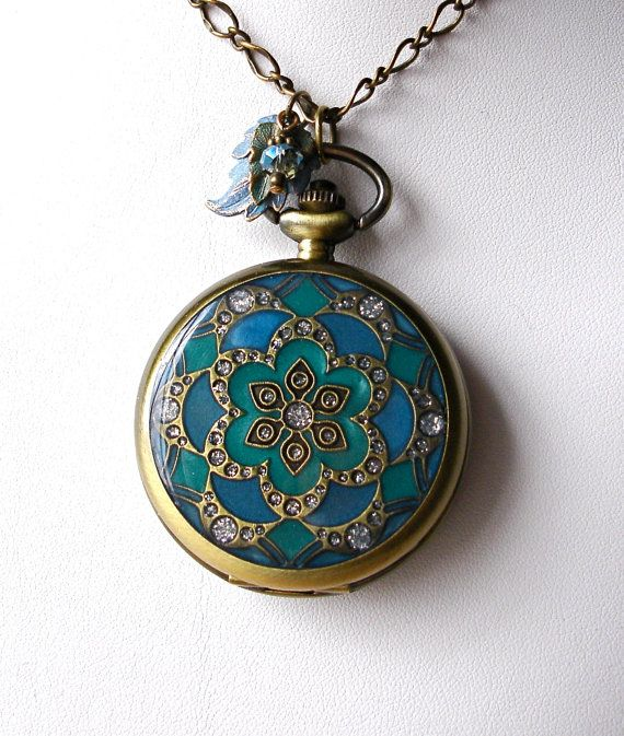 Teal &  Emerald Mandala Watch Locket Pendant by theDeerCreekHouse, $34.50