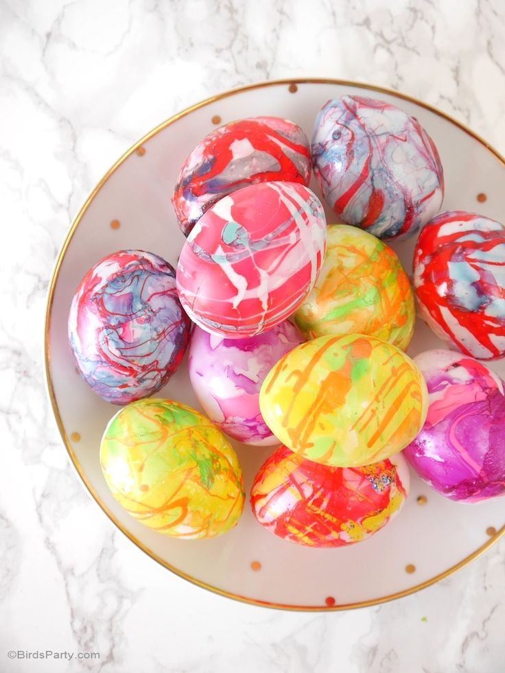 Diy Nail Polish Marbled Easter Eggs Egg Coloring Easter