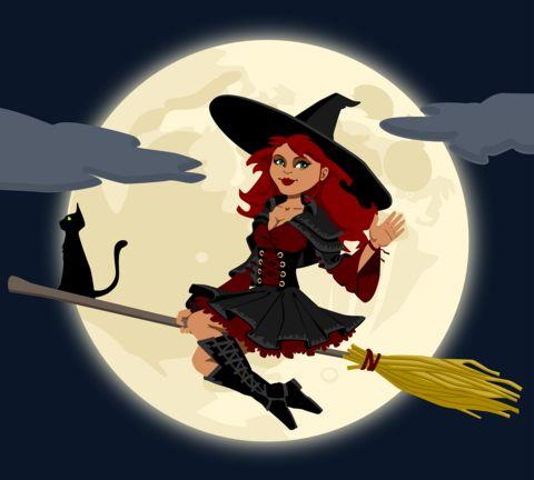 Freundinnen/Kegelschwestern/Verwandte des Geburtstagskindes verkleiden sich als Hexen mit Besen, Hexennase, Kopftuch,…
