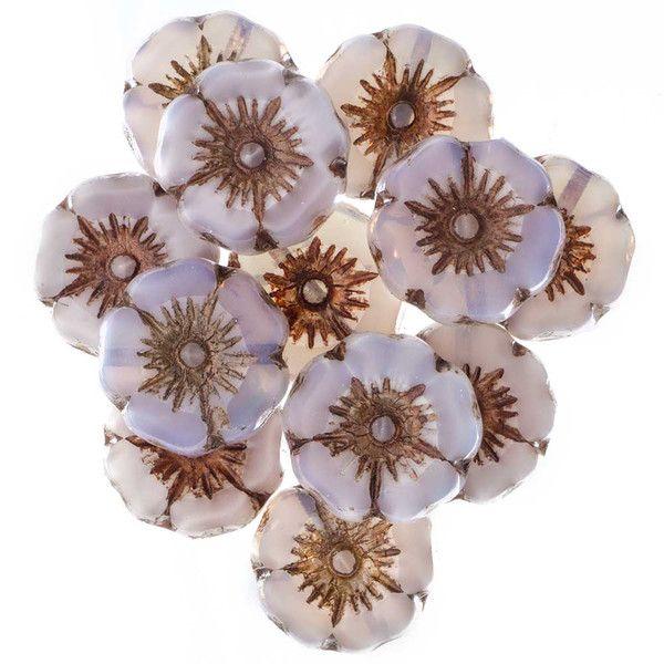 Hibiscus Flower Czech Glass Bead - Light Purple Silk with Bronze - 12mm | Fusion Beads