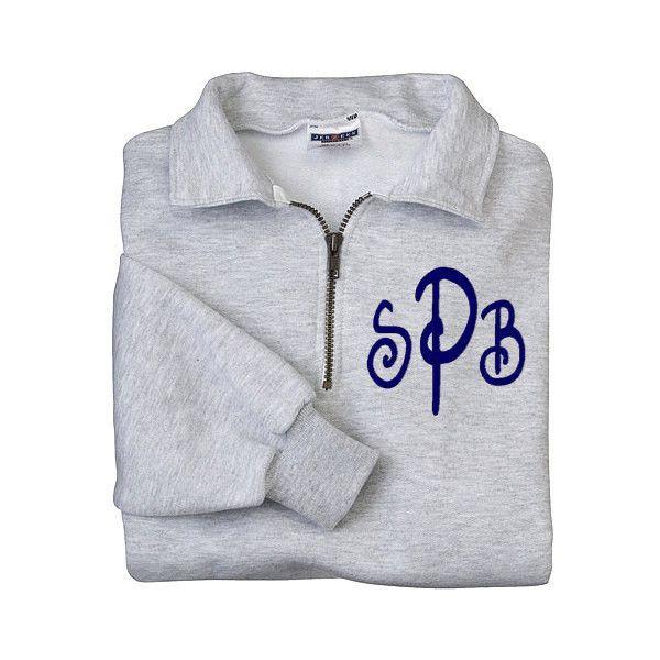 Monogram Sweatshirt Zip Pullover Half Zip Shirt Monogram Fleece Shirt... ($35) ❤ liked on Polyvore featuring tops, hoodies, sweatshirts, silver, women's clothing, sweatshirts hoodies, holiday shirts, pullover sweatshirts, zip hoodie and monogrammed shirts