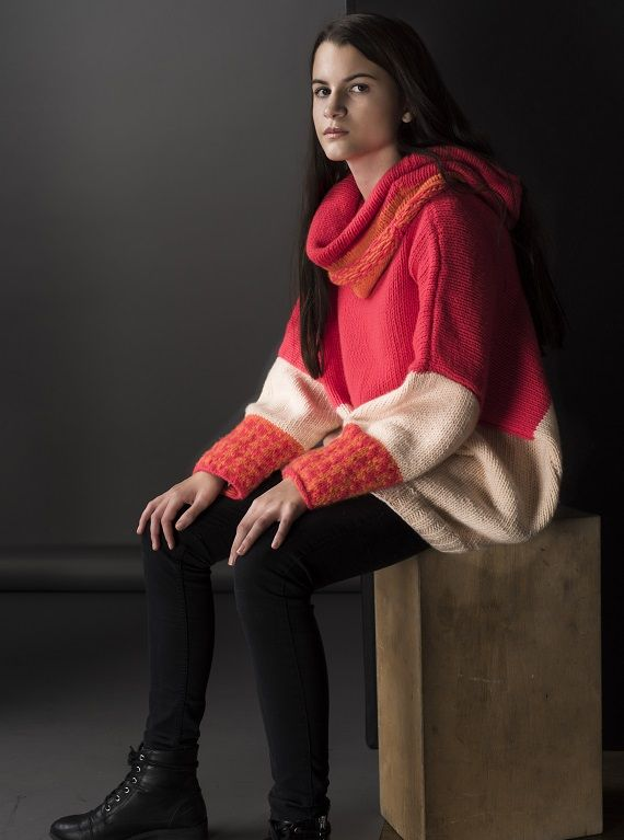 HANIA by Anya Cole Bi-Color Sweater with Ray Snood. Fall/Winter 2015