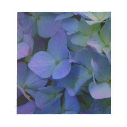 blue purple hydrangeas notepad - purple floral style gifts flower flowers diy customize unique