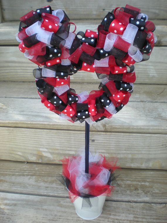 mickey ribbon topiary :) perfect for a Disney themed party!! So cute!!