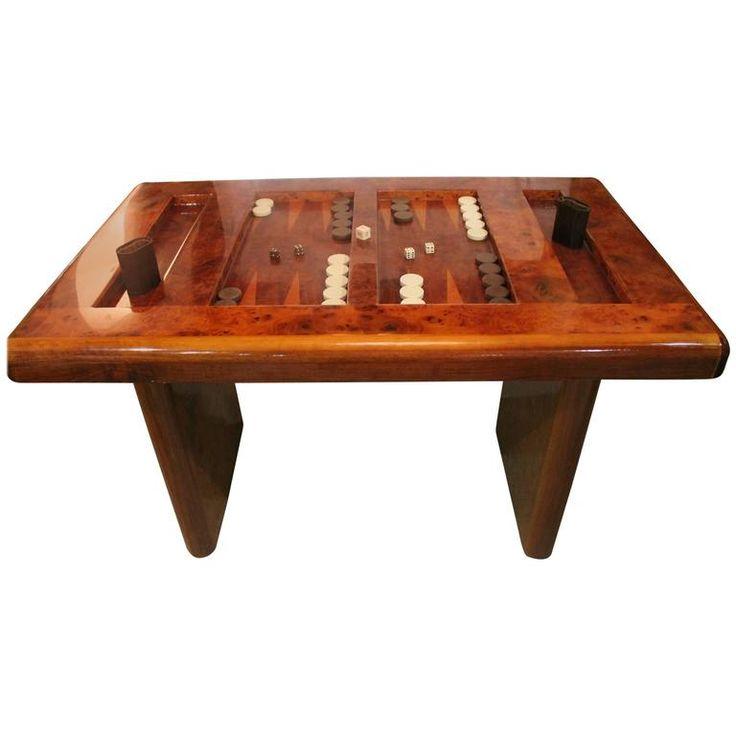 midcentury modern burl wood backgammon game table - Backgammon Game
