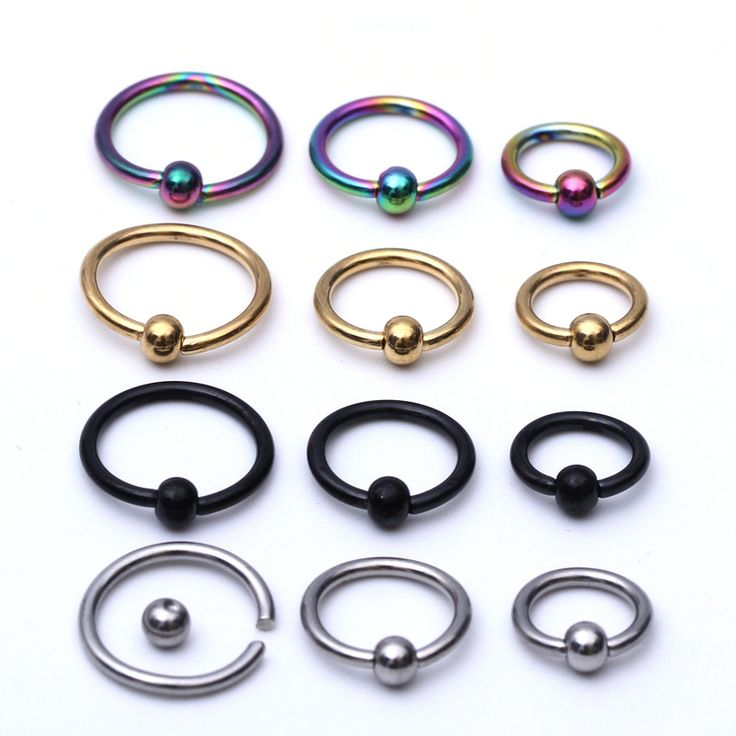 10pcs /lot Titanium Captive Rings BCR Eyebrow Tragus Nose Nipple Ring Bar CBR Lips Piercings tragus ring wholesale Body Jewelry