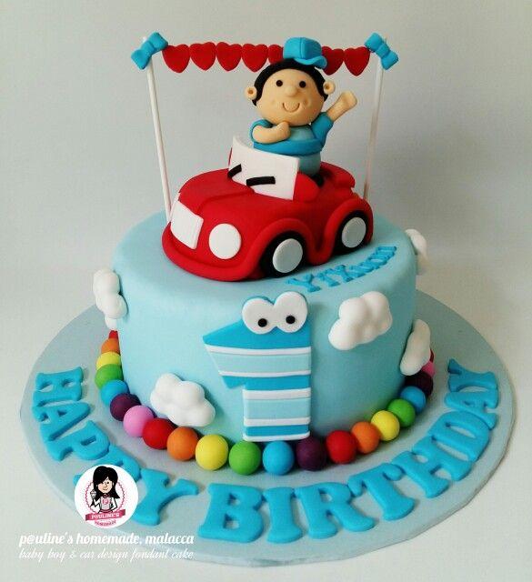 Baby Boy And Car Design Fondant Cake Cake Designs For