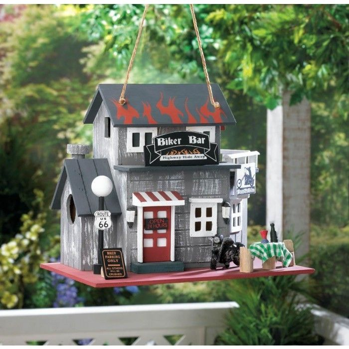 Grab your #Motorcycle #Club #BikerBar Eucalyptus Wood #Whimsical #Birdhouse #Flame Painted Roof at a great price! http://lifeinlots.com/motorcycle-club-biker-bar-eucalyptus-wood-whimsical-birdhouse-flame-painted-roof/