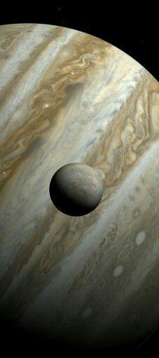 Europa and Jupiter. Image create with Celestia.