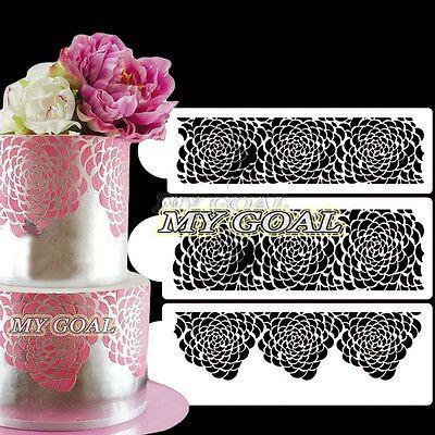 Damask Fiore Cake Stencil Bordo Decor stampo laterale in pizzo paisley Sugarcraft Stampo