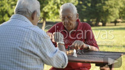 Active retired people, old friends and free time, two senior men having fun and playing chess at park. Sequence of medium and wide shot HD Stock Footage Clip. Medium shot. 2012-12-14, CUBA.