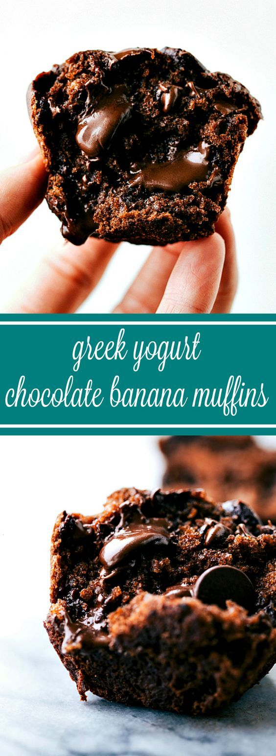 Delicious Bakery Style Greek Yogurt Chocolate Banana Muffins: