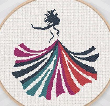 0 point de croix femme robe multicolore  - cross stitch colourful dress