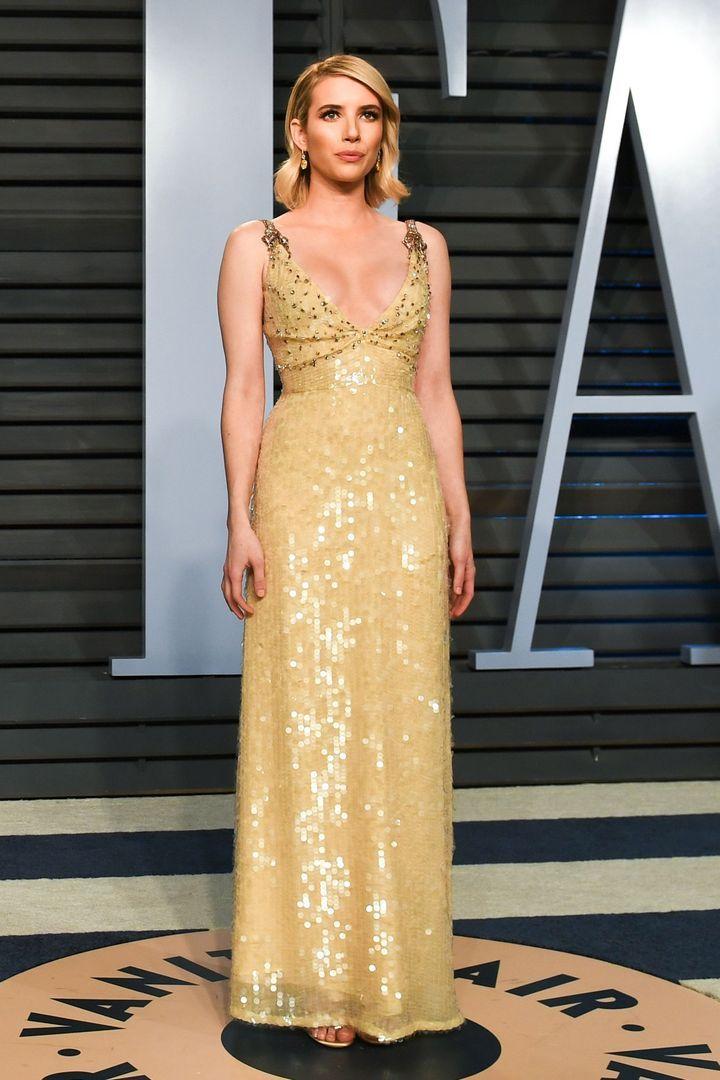 Emma Roberts Vanity Fair Oscar Party 2018 Emma Roberts Vestidos Bonitos Vestidos