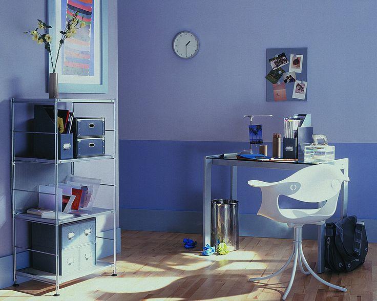 Peinture bureau déco gris violet dulux valentine
