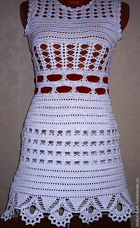 Купить Платье для девушки 44 размер - белый, цветочный, девушка, платье летнее, Вязание крючком