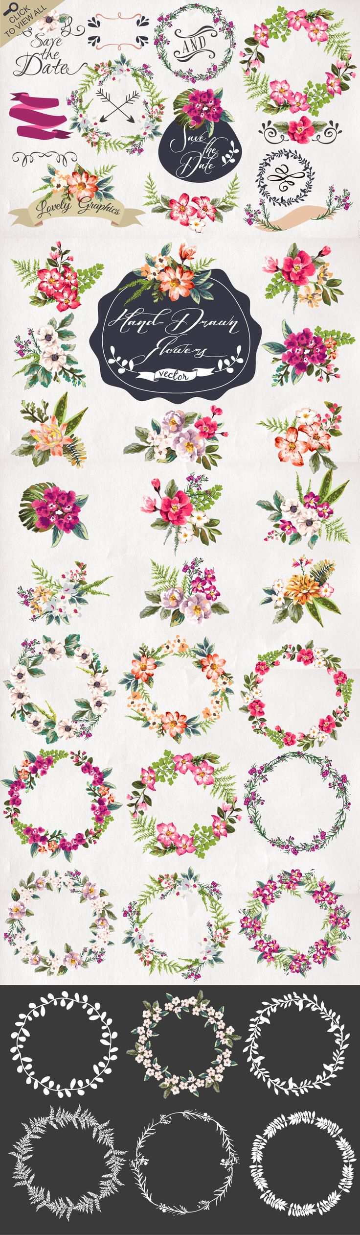 30%Off • Hand-drawn flower MEGAPACK by Graphic Box on Creative Market