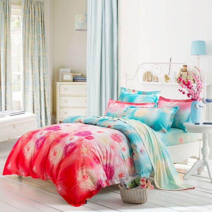 http://www.enjoybedding.com/product/watermelon-red-and-aqua-blue-dandelion-print-bedding-sets.html