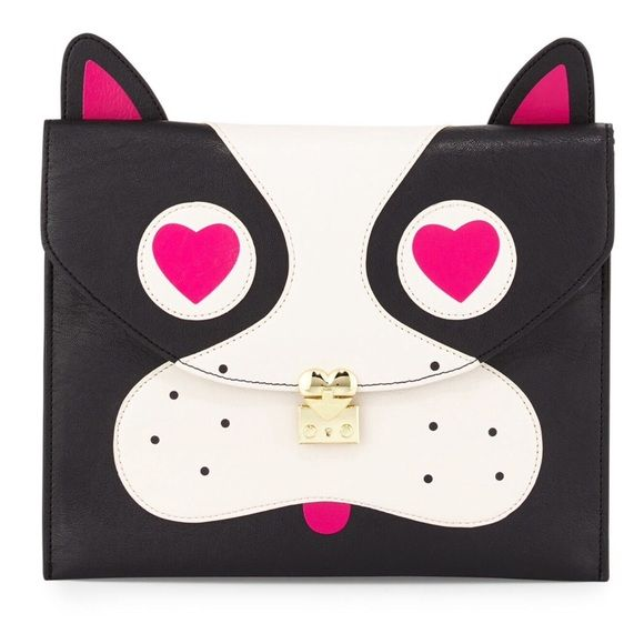 """Betsey Johnson Pug face bag!host pick So adorable!!! Brand new BJ black, pug face clutch/bag.  Flap top with padlock detail and snap closure.  Satin lining.  Interior zip and two slide pockets.  Vegan leather.  9""""H X 11""""W X 0.3""""D.  A total statement piece! Betsey Johnson Bags"""