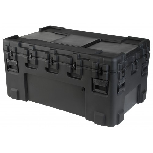"""SKB Roto Mil-Std Waterproof Case 24"""" Deep. Waterproof and dust tight design (MIL-C-4150J). LLDPE Polyethylene impact resistant. UV, solvents, corrosion, fungus resistant (MIL-STD-810F). Pressure relief / breather valves. Resistant to impact damage (MIL-STD-810F). Stainless steel latches and hinges."""
