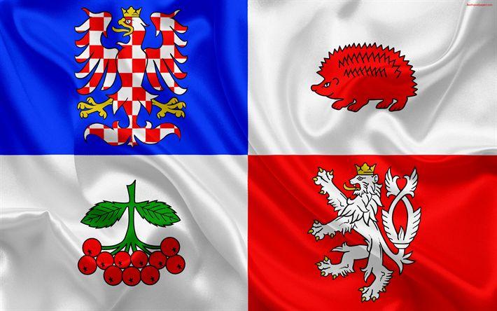 Download wallpapers Flag of Vysocina Region, silk flag, 4k, Vysocina symbols official symbols, flags of administrative units, Czech Republic, Vysocina Region