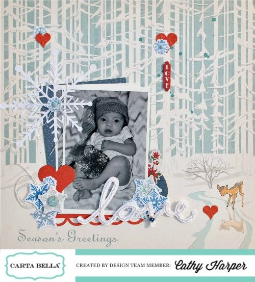 """""""Christmas Wonderland"""" layout by Cathy Harper for #CartaBellaPaper"""