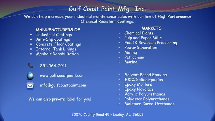 We can help increase your industrial maintenance sales with our line of High Performance Chemical Resistant Coatings.  MANUFACTURERS OF Industrial Coatings Anti-Slip Coatings Concrete Floor Coatings Internal Tank Linings Manhole Rehabilitation  MARKETS Chemical Plants Pulp and Paper Mills Food & Beverage Processing Power Generation Mining Petrochem Marine  PRODUCTS Solvent Based Epoxies 100% Solids Epoxies Epoxy Mortars Epoxy Novolacs Acrylic Polyurethanes Polyester Polyurethanes Moisture…
