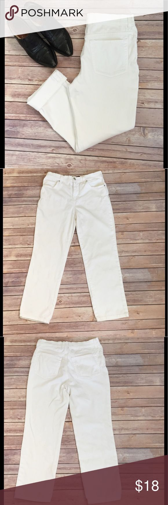"White Jeans Classic GV Summer Boho Womens 8P 8 P Classic, pure white jeans by Gloria Vanderbilt. Pair them with a cute top and you are set! Worn in just enough to make them nice and soft. Size 8 Petite Short. Measurements lay flat are......waist 14"", front rise 10.5"", and inseam 26"". Boho, festival, preppy, hipster. Good condition. Offers always welcome and thanks for looking 🌼🌼🌸🌸 Gloria Vanderbilt Jeans"