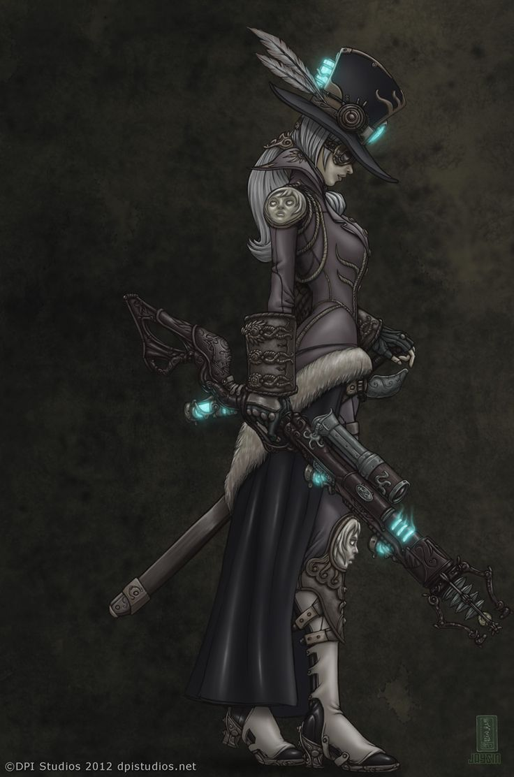 A digital steampunk painting of a woman holding an ornate steam punk rifle - DPI Studios