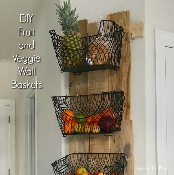 Diy Wall Mounted Fruit And Veggie Holder Diy Wall Baskets On Wall Diy Furniture Building