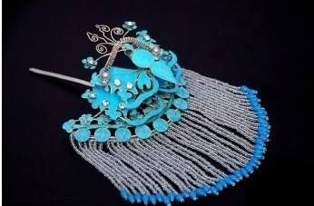 Chinese kingfisher hair ornament with fringe. Source Alain Truong.