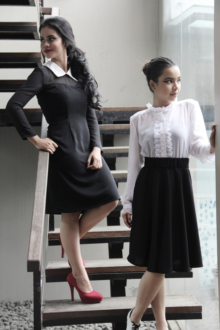Nyi Iteung's lookbook for The 24th collection, Black Status Quo Collar Dress & Vintage Two Piece Monochrome, March 2012.