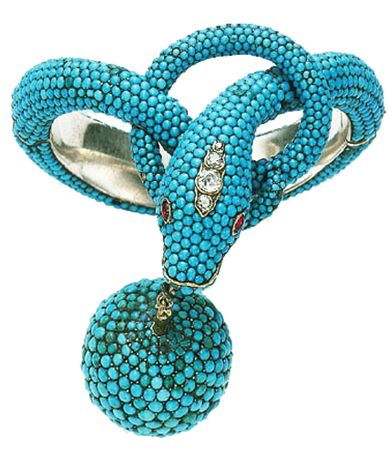 Victorian Turquoise, Ruby and Diamond Bracelet, circa 1870 The hinged band designed as a coiled pavé-set turquoise serpent, accented by cabochon ruby eyes and old European-cut diamond detail, suspending a pavé-set turquoise sphere, mounted in silver. ....sigh.