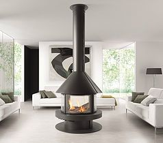 Rocal Gala Fireplace, woodburning central stove