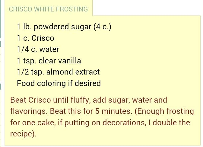 Crisco frosting