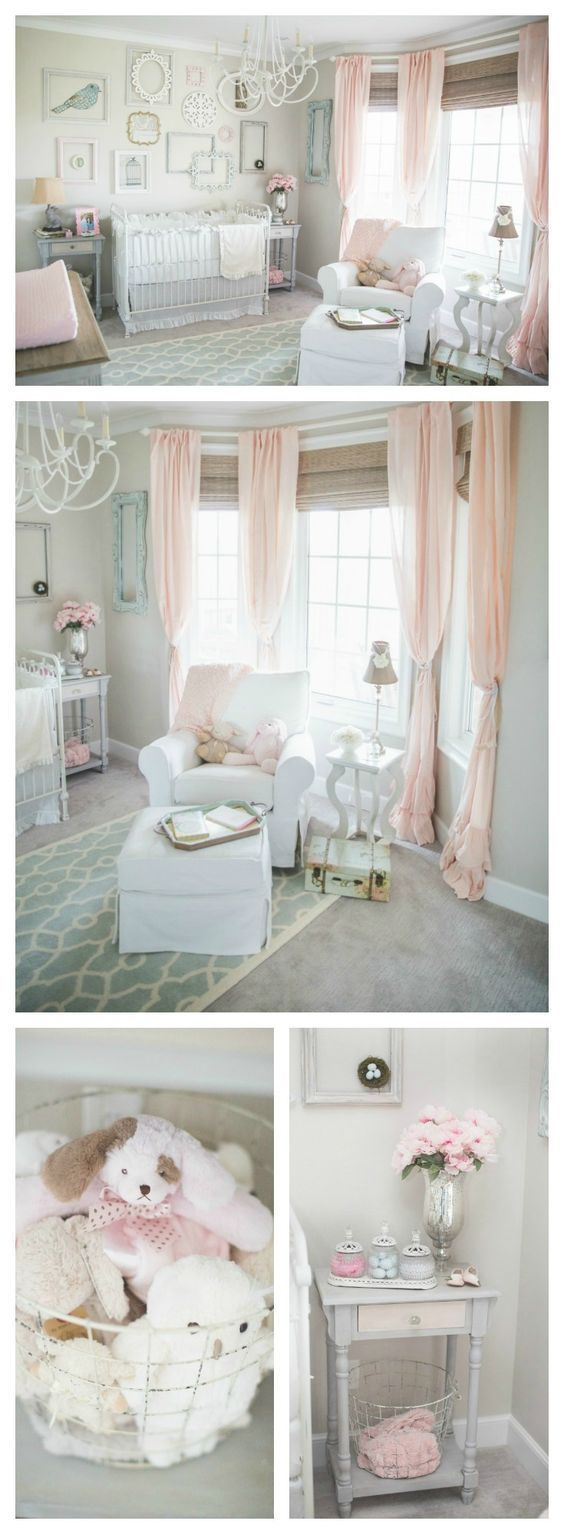 Pink and gray shabby chic nursery - love the soft and sweet details of this baby room!