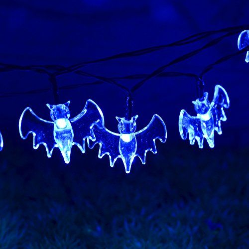halloween decoration string lights souldio solar led string lights 66ft 20 led bat string light - Solar Halloween Decorations