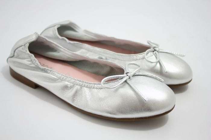 Eli zilver leren ballerina met strik