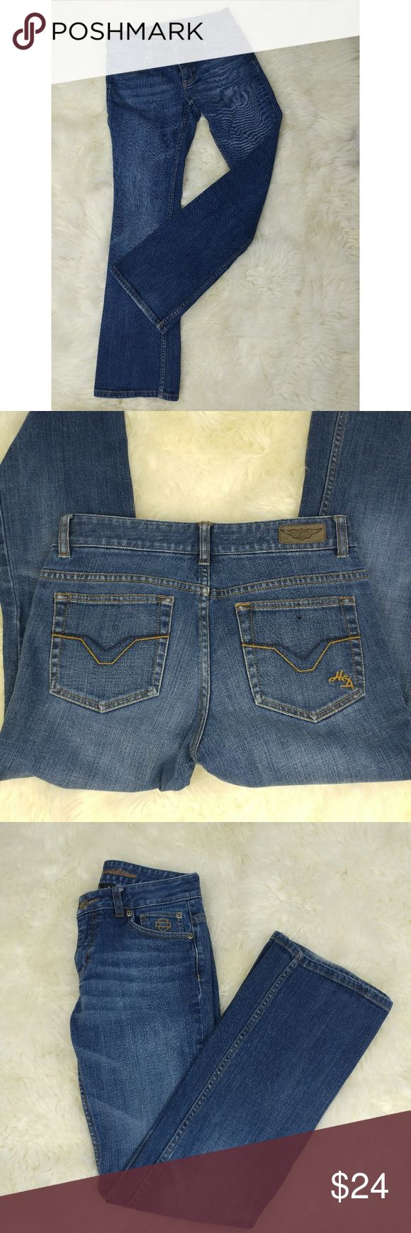 "Harley Davidson Bootcut Jeans Size 4 Great pair of jeans for any biker chick. Amazing quality and very little wear on the bottom of the legs. Inseam is 30"". Harley-Davidson Jeans Boot Cut"