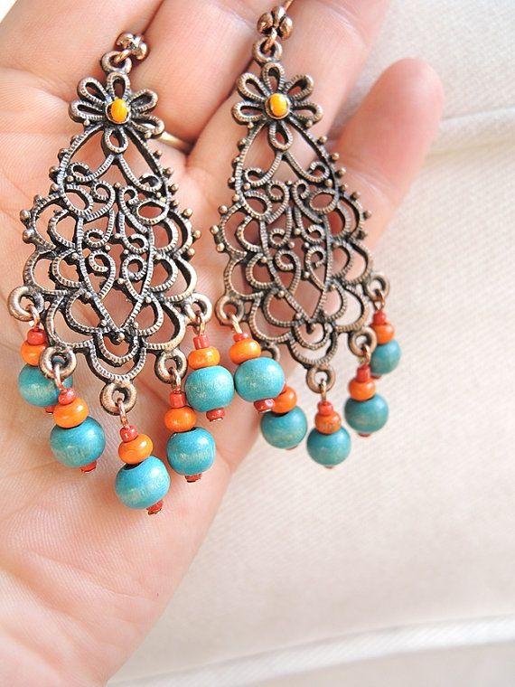 prairie - koperen oorbellen met houten kralen in oranje en turqoise - 10 euro