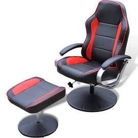 Fauteuil / racestoel kunstleer met voetenbankje (zwart + rood)