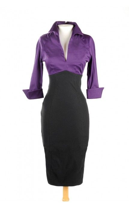 Pinup Couture- Lauren Dress in Purple and Black | Pinup Girl Clothing