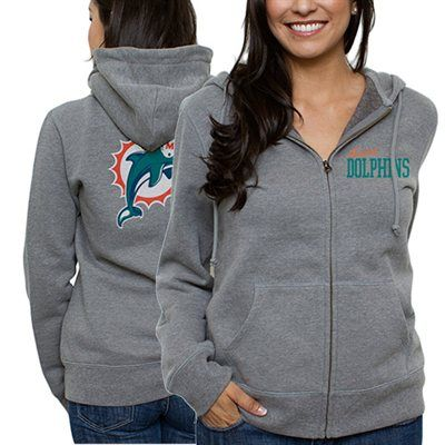 Miami Dolphins Ladies Game Day Full Zip Hoodie - Ash